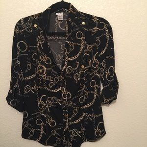 Cache blouse with gold buttons M